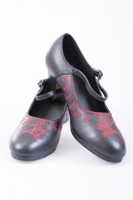 Buty do flamenco skórzane czarne z czerwonym haftem