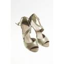 Buty tangowe 4209 beżowo-platynowa skóra, obcas 9cm