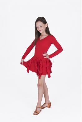 Sukienka ADELE czerwona z długimi rękawami