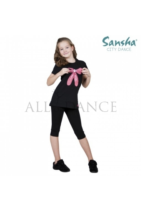 Bluzka SH-3 czarna z różowymi baletkami