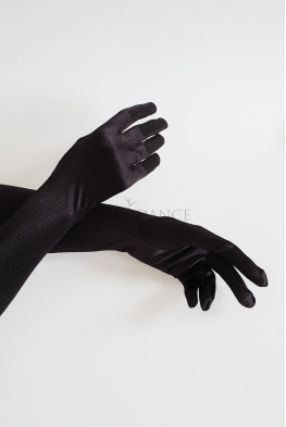 Długie rękawiczki satynowe czarne