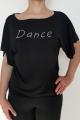 Bluzka Dance czarna z napisem z kamieni