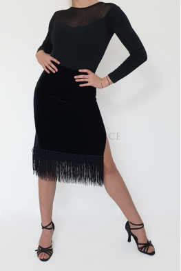 Spódnica ESMERALDA czarna z frędzlami