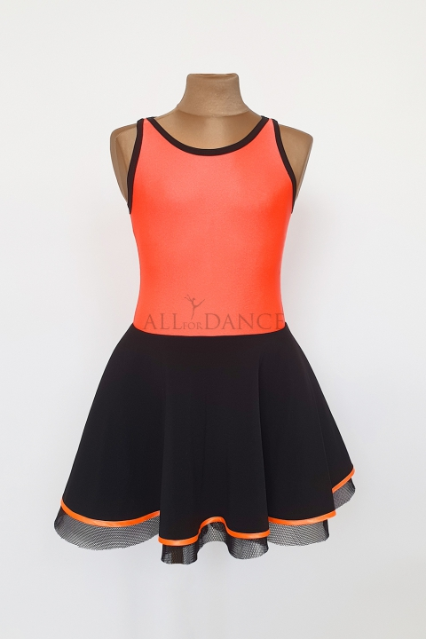Sukienka Lidia czarno pomarańczowa