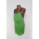 Sukienka szafirowa z zielonymi frędzlami