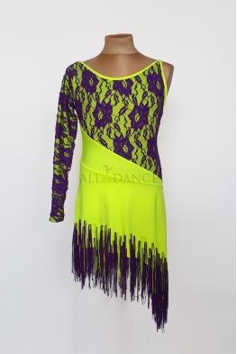 Sukienka latino żółty neon z fioletowymi frędzlami