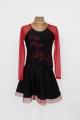 Sukienka latino czarno czerwona z kamieniami