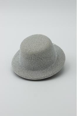 Mini kapelusz błyszczący - fascynator srebrny, złoty
