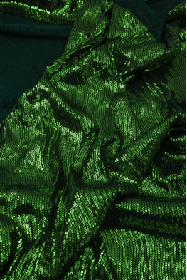 Tkanina cekinowa zielona