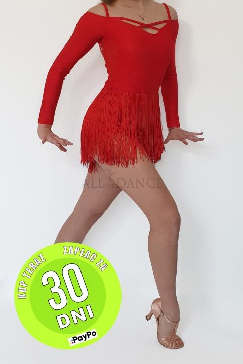 Sukienka turniejowa czerwona z frędzlami