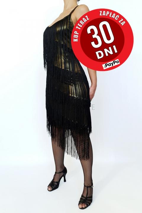 Sukienka z frędzlami czarno złota