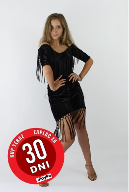 Sukienka CĘTKI czarna z frędzlami