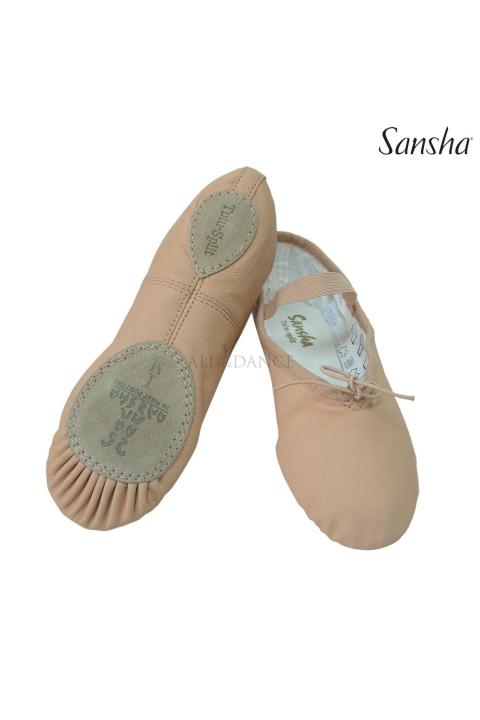 Baletki skórzane TUTU SPLIT beżowe