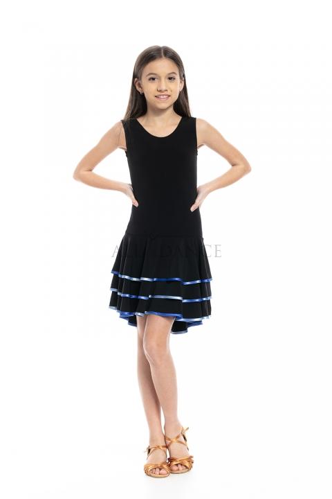 Sukienka MARISSA czarna z kolorową lamówką